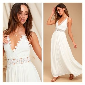 LULUS This is Love White Lace Maxi Dress S